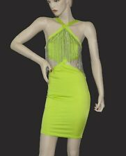 NEON GREEN OPEN BACK & SIDES BODYCON BANDAGE DRESS - Size Small New w/ Tags
