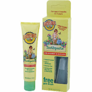EARTH'S BEST BABY / KIDS TOOTHPASTE STRAWBERRY AND BANANA NATURAL + TOOTH BRUSH