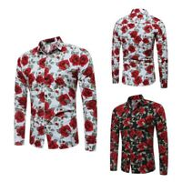 Dress shirt luxury men's formal t-shirt slim fit tops long sleeve floral casual