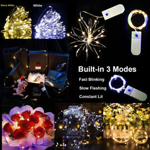 LED Battery Fast Slow Flashing Copper Wire Fairy String Lights Party Wedding UK