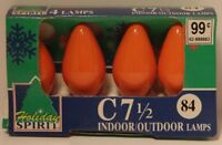 Vintage 1993 Christmas Light Bulbs 4-Pack Indoor Outdoor Orange NOS
