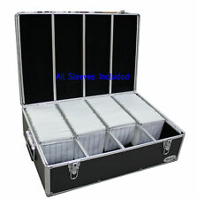 1000 CD DVD Black Aluminum Hard Case For Media Storage Holder w/ Hanger Sle
