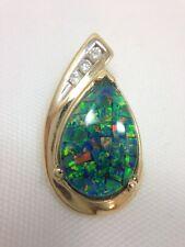 Triplet Opal & Diamond Drop Dangle Pendant for Necklace 14k Yellow Gold 585