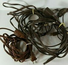 Lot Of 5 Vintage Indoor Electric Extension Cords White Brown, Ungrounded