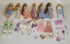 A lot barbie mini kingdom dolls furniture accessories pets horse pre-loved