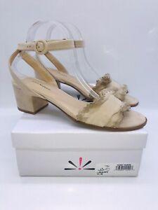 Isaac Mizrahi Women's Maisy Slingback Ruffle Dress Sandals Ivory Suede US 11M