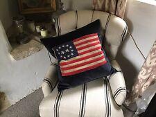 "Andrew Martin Vintage USA Flag Motif Cusion Cover 22"" Square On Velvet"
