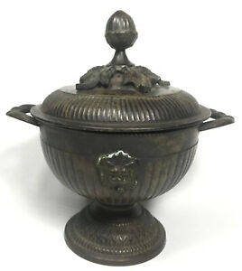 Antique Metal Urn Lidded Bowl With Lion Heads And Leafs Bronzed Spelter ?