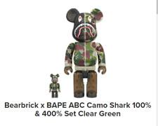 New Listing100% & 400% Set Bearbrick x Bape Abc Camo Shark Set Clear Green