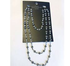 NWT Zara Woman Accessories Long Silvers Stones Flowers Necklace