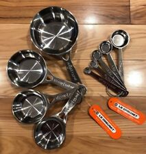 9-Piece LE CREUSET Stainless Steel Measuring Spoons & Cups NWT Baking Accessory