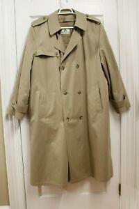 Misty Harbor Mens Rain Trench Coat Overcoat Sz 46 R Full Lined Cotton Blend Tan