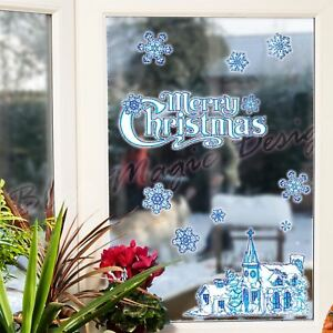 Cottage Merry Christmas Glitter Reusable Sticker Shop Window Decorate Snowflake