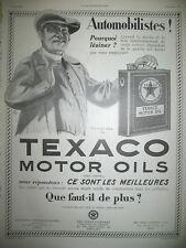 PUBLICITE DE PRESSE TEXACO MOTOR OILS TEXAS COMPANY HUILE MOTEUR FRENCH AD 1924