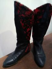 VERO CUOIO Italian Black LEATHER & BOOTS Booties SIZE: 36