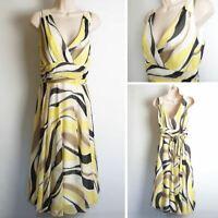 Hobbs 100% Silk Sleeveless Yellow Black Swirl Occasion Dress size 12 D3