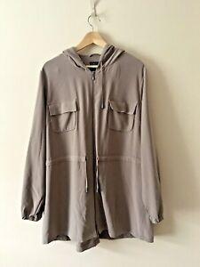 M&S Sable Hooded Coat Zipped Jacket Pockets Autumn Size UK 18 EUR 46