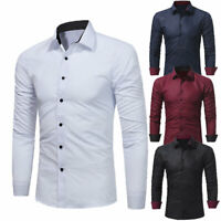 Mens Slim Luxury Casual Shirt Stylish Long Sleeve Formal Dress Shirt T-Shirt Top