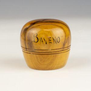 Antique Baveno Italian Polished Olivewood - Travel Pocket Inkwell Ink Bottle