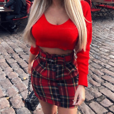 Womens Ladies Red Tartan Belted Pleated Mini Skirt With Front Zip UK 8-14