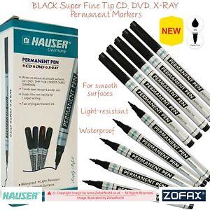 HAUSER Super Fine Non-Fray Tip CD DVD OHP Permanent BLACK Marker Pens Waterproof