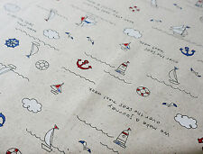 FURNISHING Upholstery Linen Nautical Sailing Boat Fabric by HALF METRE #68