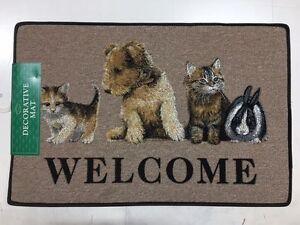 "Pets Doormat Puppy, Kittens & Rabbit LARGE 26"" x 17"" - more designs in my shop"