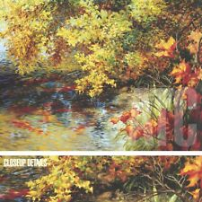 """48W""""x36H"""" CREEK AND FALL TREES by ELIZABETH HORNING - TREE FOREST CANVAS"""
