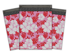 #00 6x10 (5x9in) Pink Hibiscus Flower Designer Poly Bubble Mailer Envelopes 20pc