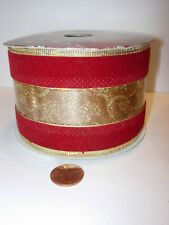 """180"""" dark red gold 2 1/2"""" wide Ribbon Party Supplies christmas wire edge holiday"""