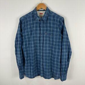 Levis Mens Button Up Shirt Size M Medium Blue Plaid Long Sleeve Collared 205.14