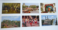 Vtg 1950s DISNEYLAND 6 Postcards Frontierland Steamboat Main Street Mickey Mouse