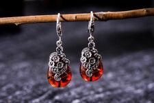 A01 Ohrring Tropfen aus Granat Blüten aus Sterling Silber 925 und Markasit