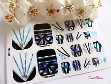 Nail Art Self Adhesive Full Toe Polish Wrap Sticker Shattered Stained Glass T5