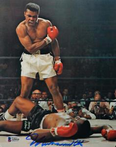Muhammed Ali Signed 8x10 Photo Standing Over Sonny Liston- Beckett Letter *Blue