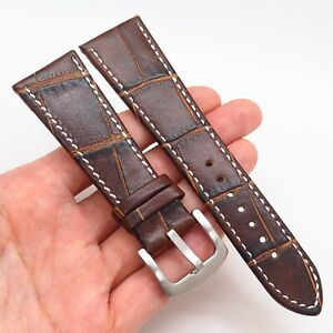 26mm Brown Genuine Alligator Leather Stainless Steel Contrast Stitch Watch Band