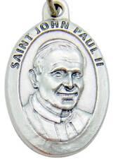 """MRT St Pope John Paul II Catholic Gift New Saint Medal Silver Plate 1"""" Italy"""