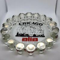 RARE Vintage Chicago Alia Royal Jordanian Airline Hobnail Glass Ashtray Souvenir