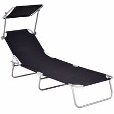 Portable Black Outdoor Patio Pool Deck Recliner Bed Lounge Chair Sun Shade Visor