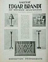 PUBLICITÉ DE PRESSE 1926 GALERIE EDGAR BRANDT FERRONNERIES LUMINAIRES LUSTRES