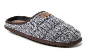 DF by Dearfoams Men's Gray Knit Scuff Slip-on Gel Infused Slippers Shoes: S-XL