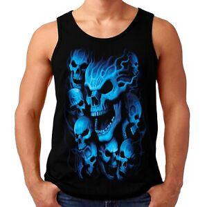Velocitee Mens Vest Blue Ghost Skulls Horror Evil Death Skeletons Biker A18634