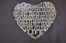 John 3:16 Bible Verse Scrolled Wooden Biblical Heart  Wall Hanging Amish Made