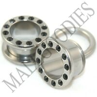 """V020 Screw-on / Fit Surgical Steel Tunnels with Black CZ Ear Plugs 10G ~ 1"""" PAIR"""