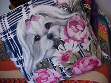 MALTESE HAND PAINTED ROSES PILLOW GORGEOUS!