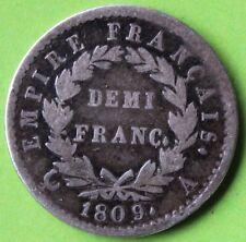 FRANCE DEMI FRANC NAPOLEON EMPEREUR 1809 A