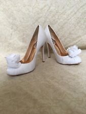 Badgley Mischka Ina White Fabric, Women's Shoes, Size 9.5M