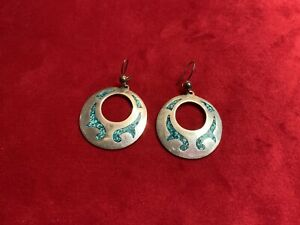Sterling Silver Turquoise Chip Inlay Circle Dangle Hook Earrings TC MEXICO 15g