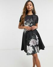 New Ted Baker luicy clove floral printed skater mini dress Size 2 UK 10
