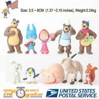 10X Masha And The Bear Mini Action Figure Cute Doll Cake Topper Toy Xmas Gifts